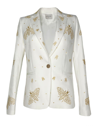 Gaia Single Botton Blazer Embroidered White/ Gold