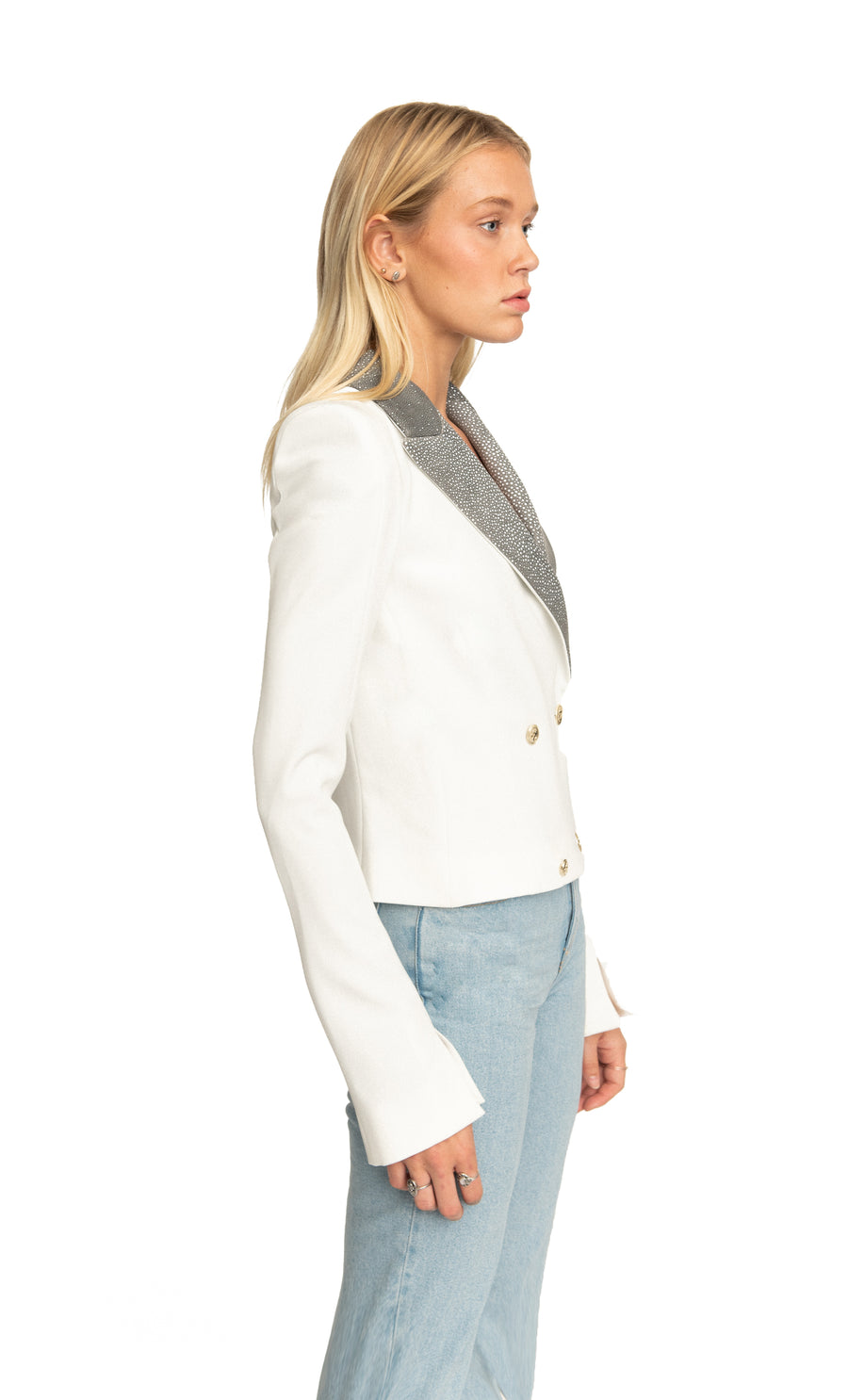 Ines Double Breasted Cropped Blazer in White Ray