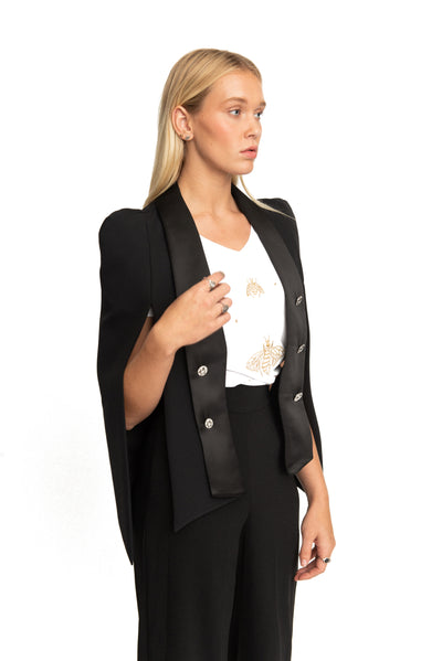 Sabrina Cape Blazer Black