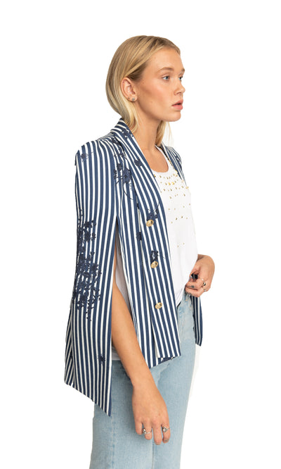 White Stripes Nautical Cape Sabrina Blazer