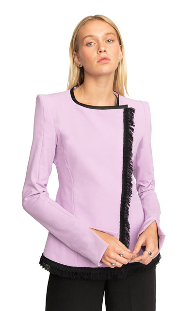 Shari Asymmetrical Fringes Blazer Lilac