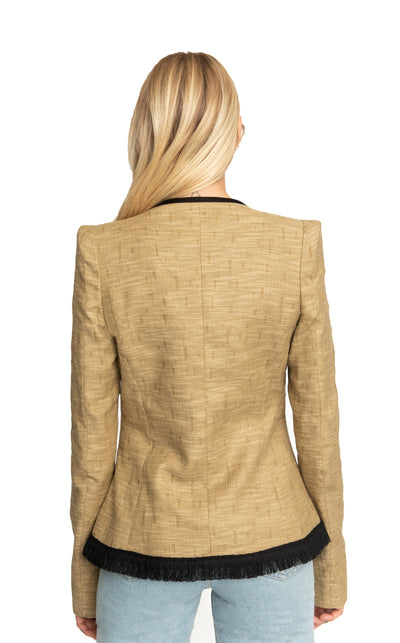 Shari Asymmetrical Fringes Blazer Rafia