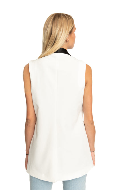 Adele Vest in White and Black Satin Contrast