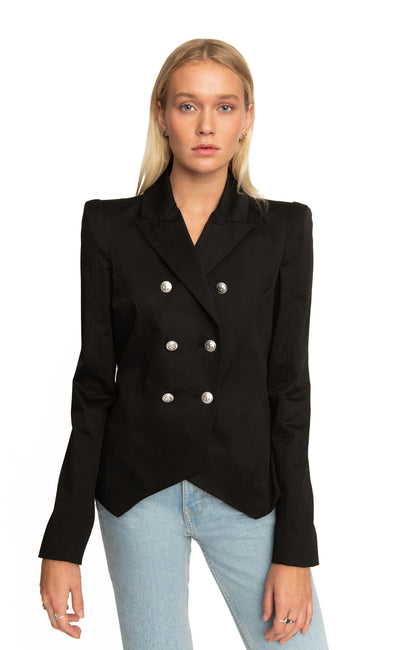 Amanda Blazer- Black Cotton
