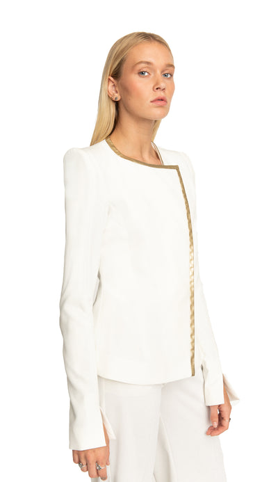 Shari Asymmetrical Fringes Blazer White/ Gold