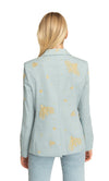 Gaia Single Botton Blazer Embroidered Washed Cotton