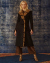 Gigi Melton Wool Black Coat with Faux Fur