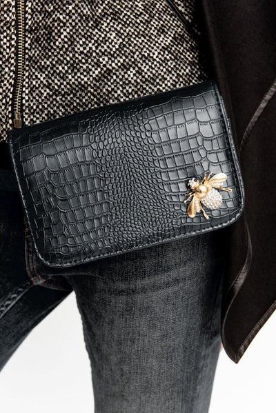 Black Croc Embossed Embellished Leather Belt With Fanny Bag - Purse