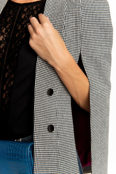 Black N White Houndstooth Cape Blazer - Blazer