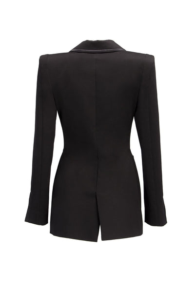 Black Satin Trims Jessica Blazer - Blazer