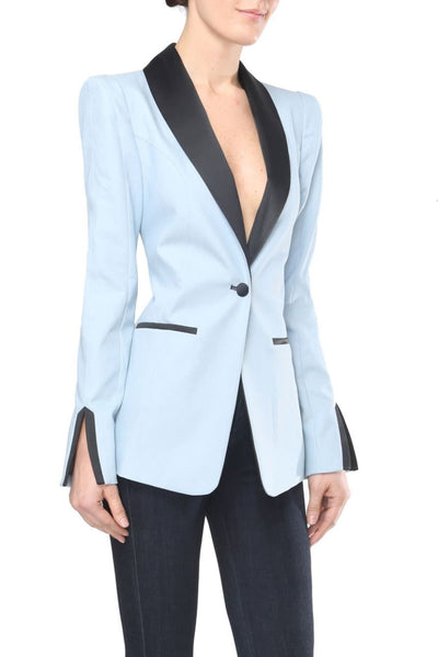 Black Satin Trims Lauren Denim Blazer - Blazer