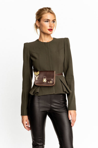 Brown Leather Belt With Fanny Bag - Purse