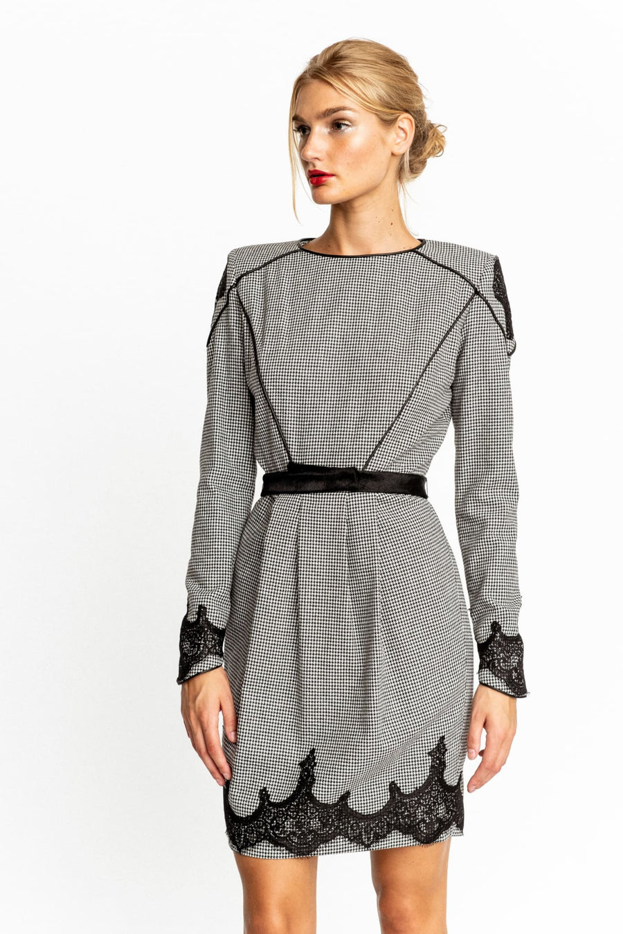 Carlotta Long-Sleeve Tweed Sheath Dress With Calf Fur Piping - Dress