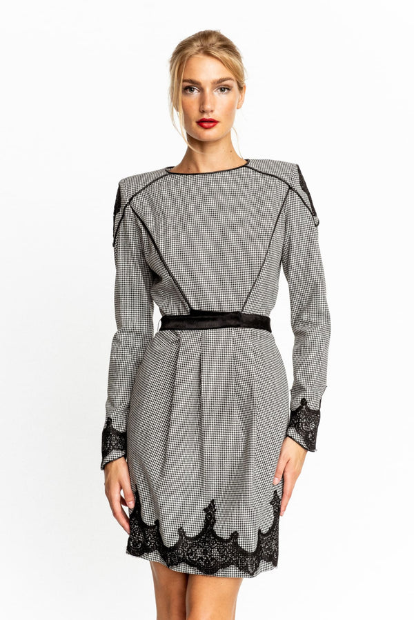 83ddac960f Valentina Shah - Carlotta Long-Sleeve Tweed Sheath Dress with Calf Fur  Piping