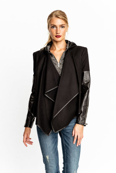Leather Sleeve Tweed Jacket - Jacket