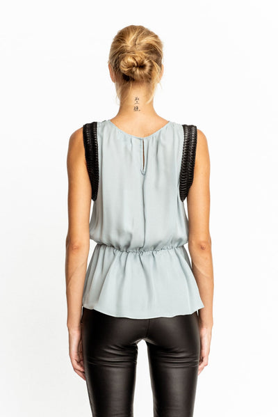 Light Blue Silk Leatherette Trims Tunic Blouse - Shirt