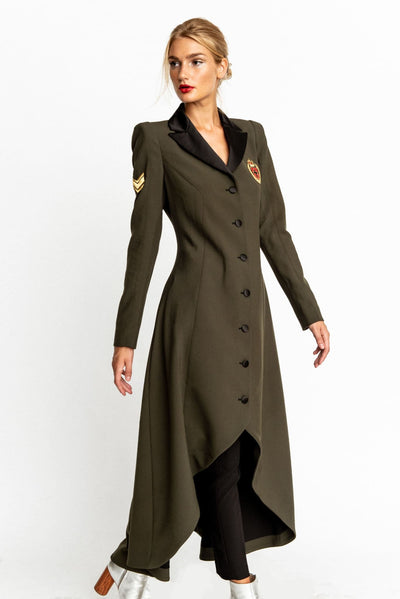 Military Green Coat Victoria Blazer Dress - Blazer