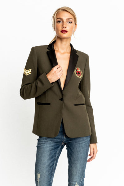 Military Green Gaia Blazer With Military Patches - Blazer