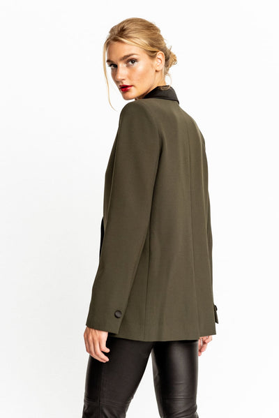 Military Green With Satin Contrast Clair Blazer - Blazer