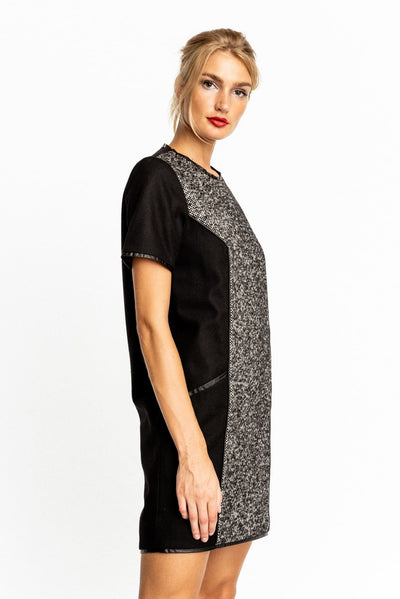 Shift Tweed Dress With Leather Trims - Dress