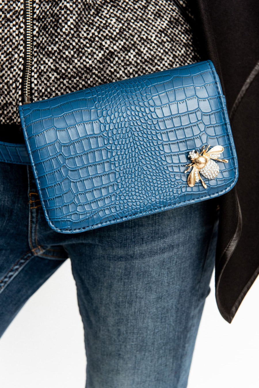 Teal Croc Embossed Embellished Leather Belt With Fanny Bag - Purse