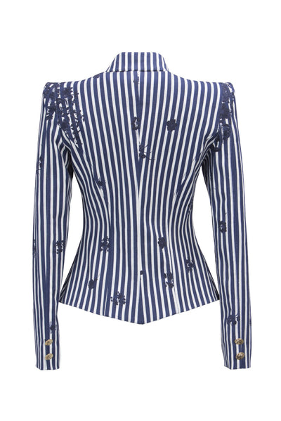 White Stripes Nautical Amanda Blazer - Blazer