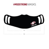 MSDSTRONG Masks. 100% Polyester, 100% Washable  3 layers. Dri-fit polyester for better breathing ability   Available with Two ear loop positions for a custom fit.