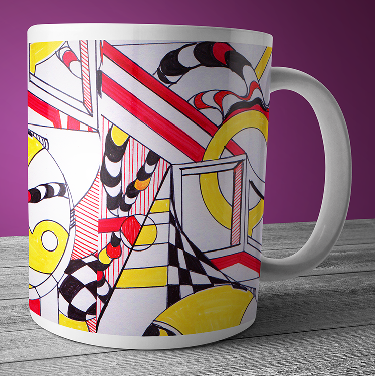 Modern art coffee and tea mug with bright yellow geometric art.