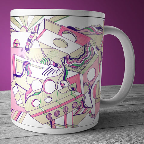 "A mug inspired by Jen Sincero author of ""You are a Badass"". Modern art with pinks, tans, and geometric design."