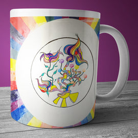 Modern art coffee and tea mug with floral and rainbow  geometric art.