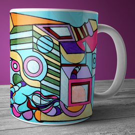 Modern art coffee and tea mug with bright pink, green, and purple  geometric art.