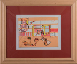 Station West - 9x12in framed geometric, abstract, pop wall art