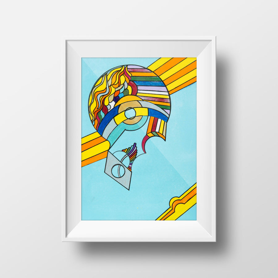Rainbow Brain - Abstract Wall Large Art Print, Home Decor, Modern, Surreal, Rainbow Art
