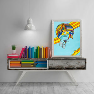 Rainbow Brain - Abstract Wall Large Art Print, Home Decor Wall Art, Living Room Decor, Modern Art, Surreal Art, Rainbow Art