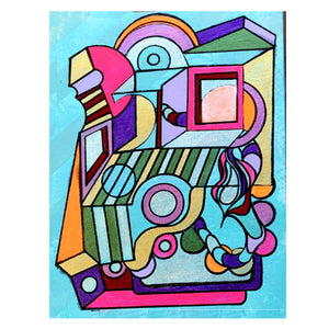 We Fell: 9 x 12 inch, Colorful, Geometric, Abstract, Avant Garde, Original, Contemporary Acrylic Art