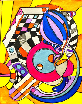 Thank You Dr. Sacks: Geometric, Abstract, Avant Garde, Original, Contemporary, Acrylic Art