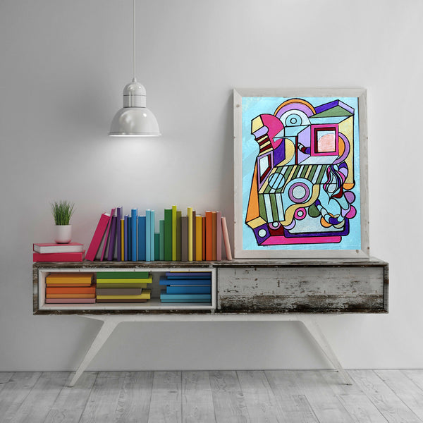 We Fell - Abstract Wall Art Print, Home Decor Wall Art, Living Room Decor, Rainbow Art, Surreal Art