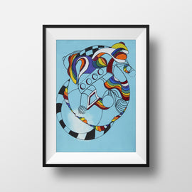 For The Time Being #2 - Abstract Wall Art Print, Home Decor, Modern Art, Surreal Art, Rainbow