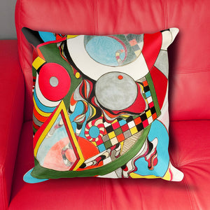 Fat Tuesday: Modern Art 18x18 inch Pillow Cover with Abstract and Colorful Geometric Design