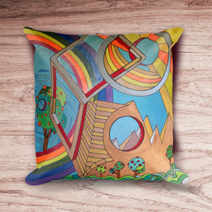 Father's Day: Modern Art 18x18 inch Pillow Cover with Abstract Desert Geometric Design