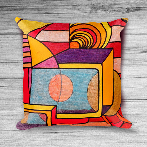 Everything is Wonderful - Bright Orange, Red, Yellow, and Purple Geometric Decorative Pillow Cover