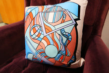 Prismagic Blues: Mid Century Pillow Cover with Red, White, and Blue Geometric Design
