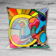 Eternal Optimist - Modern Art 18x18 inch Pillow Cover with Abstract Rainbow Geometric LGBT Design
