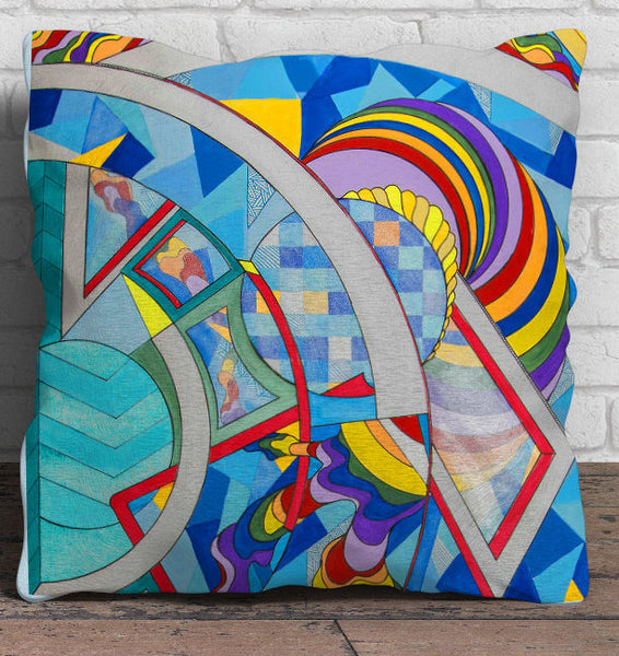 Full Time Rainbow - Modern Art 18x18 inch Pillow Cover with Abstract Rainbow Geometric LGBT Design