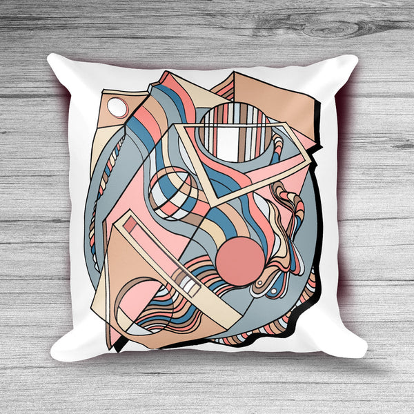 Prismagic Peachy: Mid Century Pillow Cover with Pink, Peach, Beige, and Blue Geometric Design