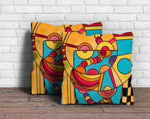 Cowboy on a Diet: Bright Orange, Pink, Red, and Blue Geometric Abstract Decorative Pillow Cover
