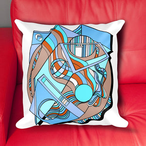 Prismagic Blues Mid Century Pillow Cover With Red White And Blue