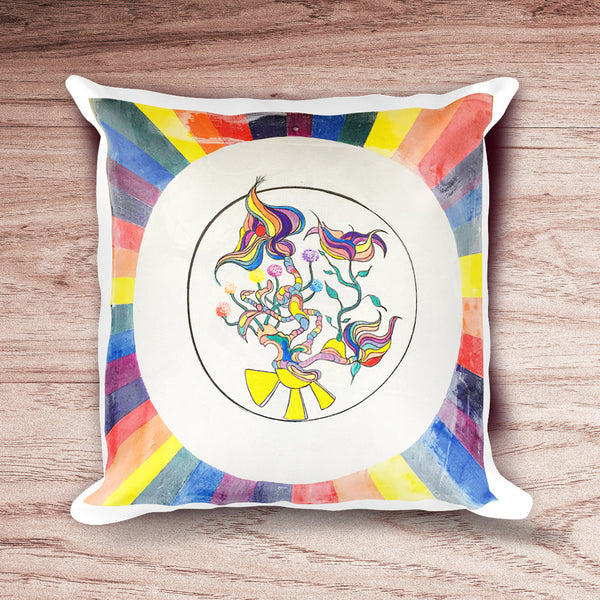 The Hot Zone: Mid Century Pillow Cover with Botanical, Flower, Rainbow Geometric Designs