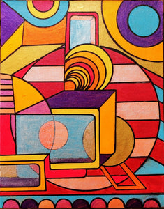 Everything is Wonderful: 11 x 14 inch, Colorful, Geometric, Abstract, Avant Garde, Original, Contemporary Acrylic Art