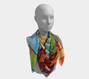 Metallic Earthtones Half Circle - Square Scarf